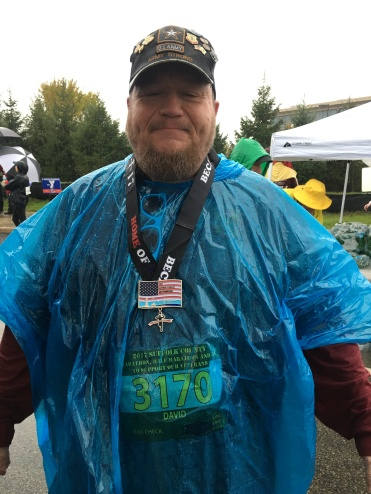 Sr Vice Commander at the finish line for the 5K of the Suffolk County Marathon