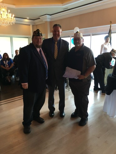 Commander George Barrett, Senior Vice Commander Dave Rogers and Councilman Neil Foley at the Brookhaven Town Veterans Appreciation Luncheon