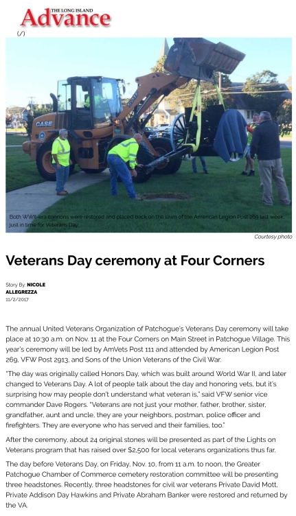 Veterans Day ceremony at Four Corners - Long Island Advance